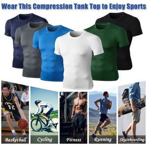 Herren Sport T-Shirt Schnelltrocknende elastische schlanke Oberteile O-Ausschnitt Kurzarm Running Gym Fitness