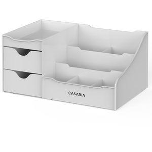 Casaria Kosmetik Make Up Organizer Schreibtisch Aufbewahrung Ordnungssystem Schublade, Farbe:Grau