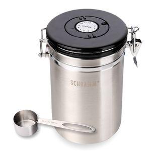 Schramm® Kaffeedose 1800 ml in 10 Farben mit Dosierlöffel Höhe: 19cm Kaffeedosen Kaffeebehälter aus Edelstahl , Farbe:Silber