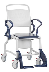 FabaCare Toilettenrollstuhl XXL Boston,  Germany, Premium Toilettenstuhl, WC Rollstuhl, fahrbar, mit Eimer, bis 150 kg, Blau-Grau