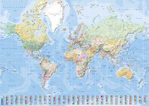 Landkarten Giant XXL Poster - Weltkarte mit Flaggen deutsch 1:30 Mio. - 140x100