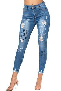 Damen Denim Jeans Stretch Hose Skinny Röhren Bedruckt High Waist Croped Treggings, Farben:Blau-2, Größe:40