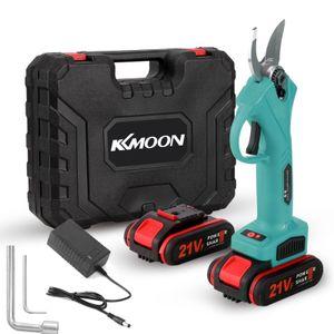 KKmoon 21V Schnurlose Elektrische Gartenschere, 0-30mm Akku Astschere, Wiederaufladbare Lithium Astschere mit 2 Batterien - Blau