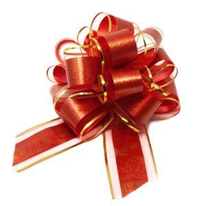 Oblique Unique Geschenkschleife Deko Schleife für Geschenke Tüten Zuckertüte Weihnachten Geschenkdeko - rot gold