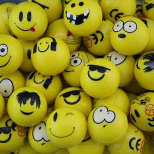 6x Flummi Smiley Spielball Dopsball Gesicht Gelb 32 mm Mitgebsel Geburtstag