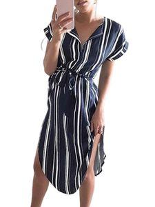 Damen Lässiges Kurzarm Midikleid V-Ausschnitt Shirt Sommerkleid,Farbe: Schwarz,Größe:XXL