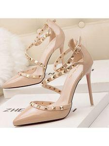 Damen High Heels Flachen Mund Spitzen Niet Schuhe Atmungsaktive Sandalen,Farbe: Nude,Größe:39