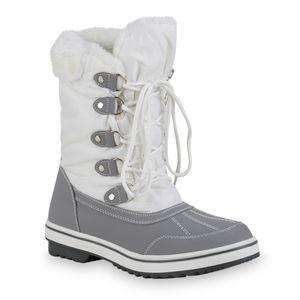 Giralin Damen Warm Gefütterte Winterstiefel Bequeme Kunstfell Schuhe 836368, Farbe: Weiß Hellgrau, Größe: 40