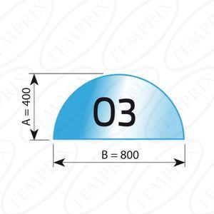 Kaminbodenplatte Transparent Form O3  400 x 800 x 6mm - Version ECO (Tragkraft bis 550 Kg)