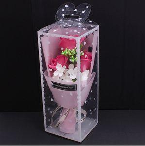 Schöne künstliche Rosen Seife Blumenstraußboxen für Hochzeit Muttertag und Valentinstag Geschenk Blumenstraußboxen