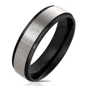 viva-adorno Gr. 60 (19,1 mm Ø) Damen & Herren Edelstahl Ring Partnerring Verlobungsring matt gebürstete Mitte RS57,Schwarz mit Silber matt,
