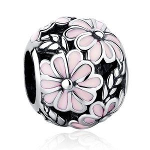 PANDACHARMS Zartrosa Blumenball Charm 925 Silber passt zu Pandora Moments