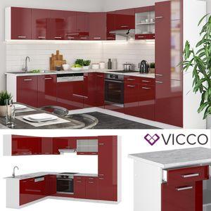 Vicco Küchenzeile R-Line Eckküche Winkel Küche Einbau Rot Bordeaux Hochglanz
