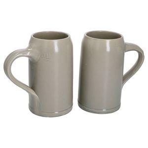 MamboCat 2er Set Kannenbäcker-Krug Henkel 0,5L geeicht Bierkrug Humpen Keramik