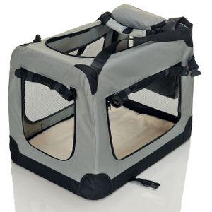 PetViolet Transportbox für Haustiere Hunde Katzen, Faltbar, 70x50x50 cm, Grau