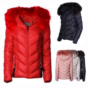 Damen Winter Jacke Parka Mantel kurz, Farbe:Rosa, Größe:M