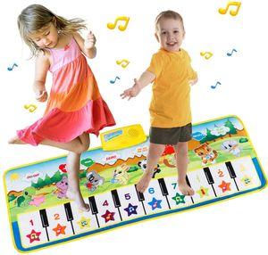 Piano Mat Tanzmatten Klaviermatte Musikmatte Kinder 8 Tierstimmen Klaviertastatur Spielzeug Musik Matte, Keyboard Matten Spielteppich Baby Tanzmatte für Jungen Mädchen Kinder 100*36 cm