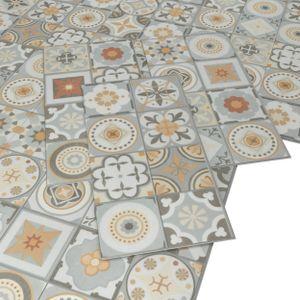 ARTENS - PVC Bodenbelag - Click Vinylboden- Zementfliesen Muster - Grau / Orange - 1,12m²/6 Fliesen