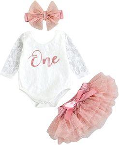 Baby Mädchen 1. Geburtstag Anzug  Spitze gekräuselte kurzärmelige Overall kurzer Rock Kleid Sommerkleidung einteiliger Overall 24 Monate