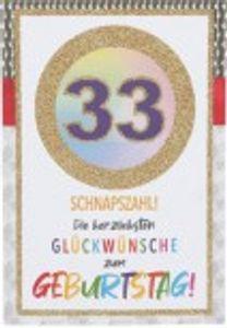 Originelle Klappkarte mit Zahlen Geburtstagskarte zum 33. Geburtstag Zahlenmotiv zum   Geburtstag