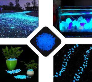 100Stk. Leuchtsteine Leuchtkiesel leuchtende Deko Kiesel Steine Garten Blau Dekosteine