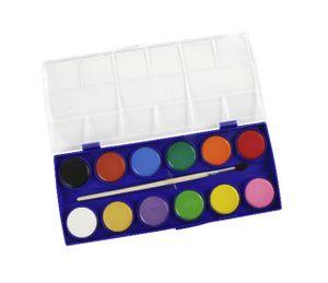 TUSCHKASTEN 12-Farben+Pinsel Wasserfarben Deckfarbkasten Malkasten Farbkasten 73