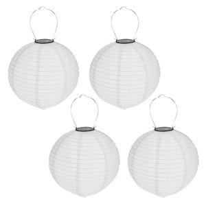 4er Set Solar LED Lampion Party Garten Laterne Grau ø 30cm Deko Lampenschirm Lampe Kugel Gartenlampion