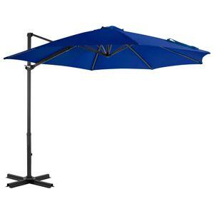 Sonnenschirm 300 cm mit Aluminium-Mast,Ampelschirm aus UV-beständigem und verblassfestem Polyester gefertigt-Blau