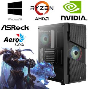 Gaming PC - AMD Ryzen 5 3600 6x 4,2GHz - 16GB RAM - 256GB SSD - NVIDIA GT 1030 - Gamer -  RGB AeroCool Gehäuse