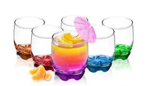 6 Trinkgläser 250ml mit farbig bemaltem Boden Glas Wassergläser Saftgläser