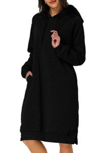 Damen Hoodie Langarm Kapuzenpullover Sweatshirt Minikleid Pullover Pullikleid