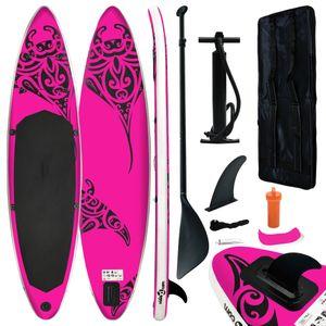 Aufblasbares Stand Up Paddle Board Set 366x76x15 cm Rosa