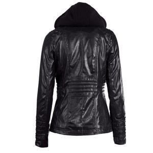 Damen Faux Leder Kapuzenjacke mit Reissverschluss Hoodie Kurzer schlanker Motorrad Jackenmantel[Schwarz 7XL]