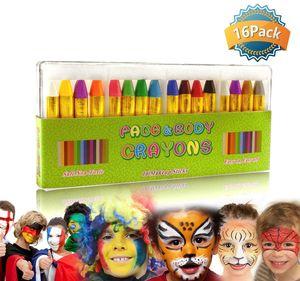 Schminkstifte 16 Farben Halloween Schminkpalette Schmink Bodypaint Körpermalfarben Tattoo für Kinder, Easy on und off, 16 Farben,Perfektes Halloween Geschenk für Kinder