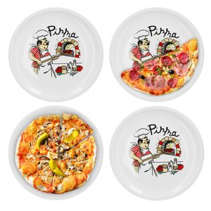 4er Set Van Well Pizzateller mit Küchenchef Nachbildung