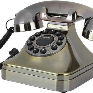 Mllaid Retro Festnetz-Telefon, Vintage Retro-Stil Telefone Antike Telefone Festnetz-Telefon-Halter HD Anruf große Taste Home Office Desktop Telefon