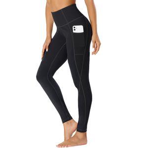 TOPLUS Damen Sport Leggings Yogahosen Sport Yogahose Fitness Pants mit 2 Taschen, Schwarz Sporthose Yogahose Streetwear,L
