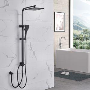 Auralum Duschset Duschsystem Regenduschset Schwarz mit Kopfbrause Handbrause für Bad ohne Armatur