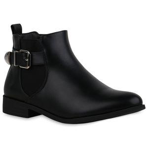Mytrendshoe Damen Stiefeletten Leicht Gefüttert Ankle Boots Blockabsatz Schuhe 835430, Farbe: Schwarz, Größe: 39