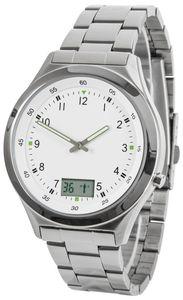 Funk-Armbanduhr mit Datums- und Sekundenanzeige, Metallgehäuse