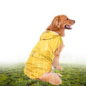 5XL Reflective Pet Dog Regenmantel Regenmantel Regenbekleidung mit Leinenloch für mittelgroße Hunde[Gelb]
