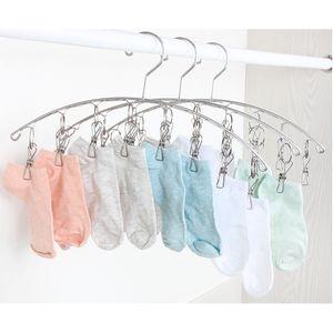 2pcs Edelstahl Kleiderbügel mit 10 Wäscheklammer, Trockenbügel für Trocknen Socken, Baby Kleidung, Bras, Handtuch, Unterwäsche, Schal, Mütze, Hose, Handschuhe Wie das Bild zeigt