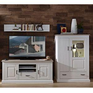 Landhaus TV-Wohnwand inkl. Beleuchtung LEER-55 in Pinie weiß mit Abs. taupe, B/H/T ca. 314/180/52cm