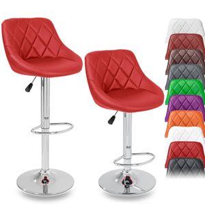 TRESKO 2er Set Barhocker Rot Barstuhl 360° Frei Drehbar Sitzhöhenverstellung 60-80cm