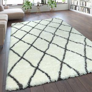 Teppich Wohnzimmer Creme Weiß Weich Groß Shaggy Flokati Rauten Muster Hochflor, Grösse:160x230 cm