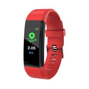 Blutdruck Sauerstoff Herzfrequenz Fitness Smart Watch Sport Armband Armband rot