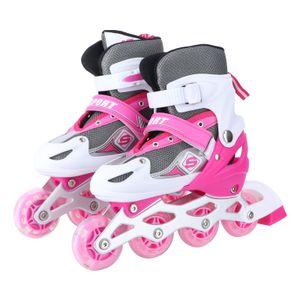 Kinder verstellbare einreihige Skating Brake Design Skates Schuhe für Kinder Outdoor Spielzeug Geschenke (Rot, M Größe)