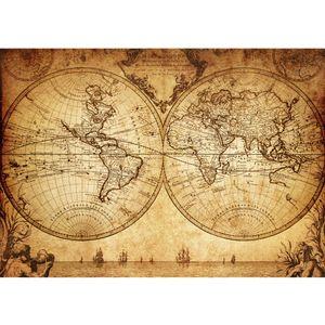 Fototapete Vintage World Map Geographie Tapete Weltkarte Atlas Vintage Atlas alte Karte alter Atlas braun   no. 76, Größe:400x280 cm, Material:Fototapete Vlies - PREMIUM PLUS