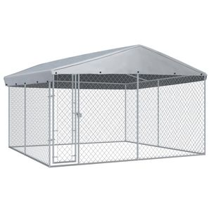 Möbel Outdoor-Hundezwinger mit Überdachung 382x382x225 cm Größe:382 x 382 x 225 cm Tier & Haustierbedarf,Haustierbedarf,Hundebedarf,Hundezwinger & -ausläufe🐰2849