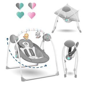 Lionelo Ruben Baby Wippe Babyschaukel Elektrisch mit Liegefunktion von 0 bis 9 kg Moskitonetz Kuscheltierbügel Dunkelgrau-Türkis
